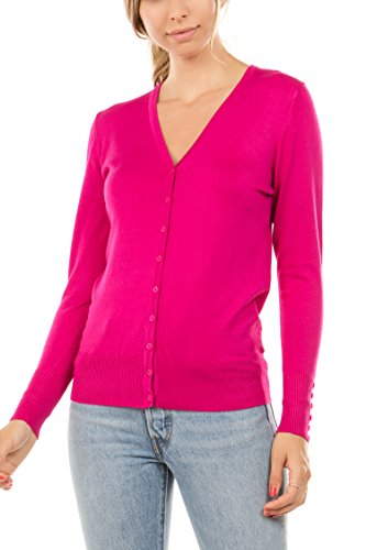 CIELO Women's Regular Solid Long Sleeve Cardigan with Decorative Buttons, Hot Pink, Large