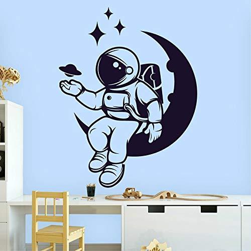 HGFDHG Espacio Astronauta Pared calcomanía Planeta Estrellas Hombre Galaxia Luna Arte Puerta Ventana Pegatina niños Dormitorio guardería decoración de Interiores Mural