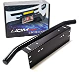 iJDMTOY AA3117 Universal Fit Bull Bar Style Black Painted Stainless Steel Front Bumper License Plate Mount Bracket Holder Compatible With Off-Road Lights, LED Work Lamps, LED Lighting Bar