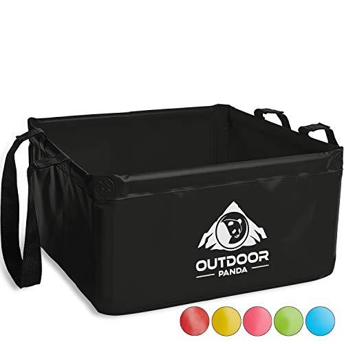 OUTDOOR PANDA: Outdoor Faltschüssel 20 Liter   Faltbare Camping Waschschüssel aus langlebigem Planen Gewebe   Platzsparende und leichte Alternative zur Plastik Spülschüssel und Spülwanne (Schwarz 20L)