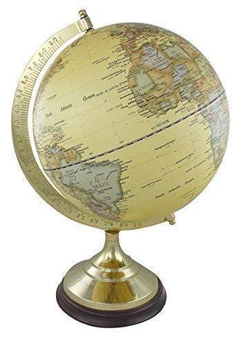 linoows Globus auf massivem Messinstand mit Holzsockel, historischer Globus 47 cm