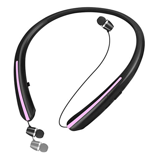 Bluetooth Headphones, Retractable Earbuds Wireless Headset Neckband Sports Noise Cancelling Stereo Earphones with Mic (Black Pink)