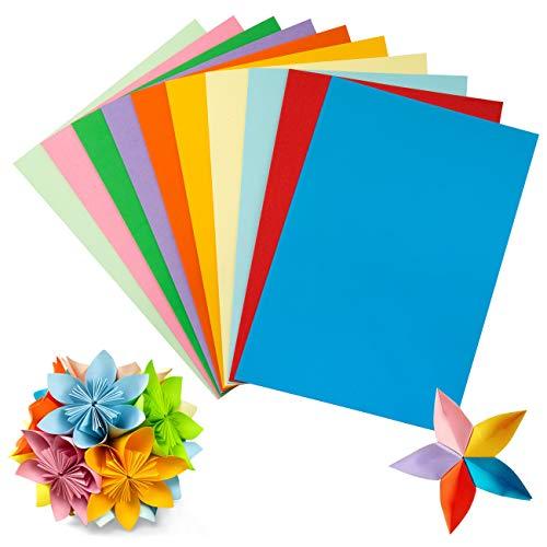 Kesote 50 Hojas Papel de Colores 180g/m² Papel Origami Doble Cara A4 para DIY Manualidades y Proyectos de Arte (10 Colores)