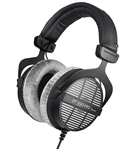 beyerdynamic DT 990 PRO Over-Ear Studio Monitor Headphones - Open-Back Stereo Construction, Wired (80 Ohm, Grey) (Renewed)