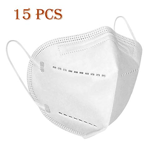 Einwegmasken, 5-lagig, Gesichtsschutz, Filtration, Staubschutz, atmungsaktiv, Ohrschlaufe, bequem, Weiß, 15 Stück