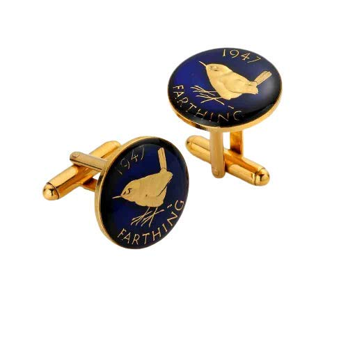 Wren Farthing Enamelled Coin Cufflinks (1937-1956) - Blue and Gold - Perfect Wedding or Birthday Gift (1945)