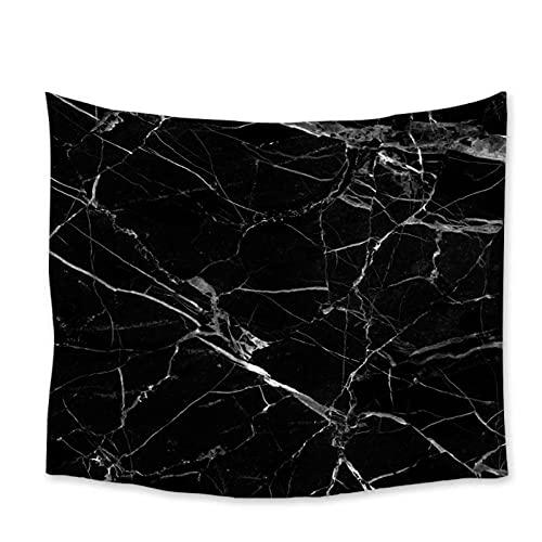 Tapiz by BD-Boombdl Tapiz de mármol para colgar en la pared viaje acampar patrón de textura de mármol negro tapiz tapete de yoga 70.86'x90.55'Inch(180x230 Cm)