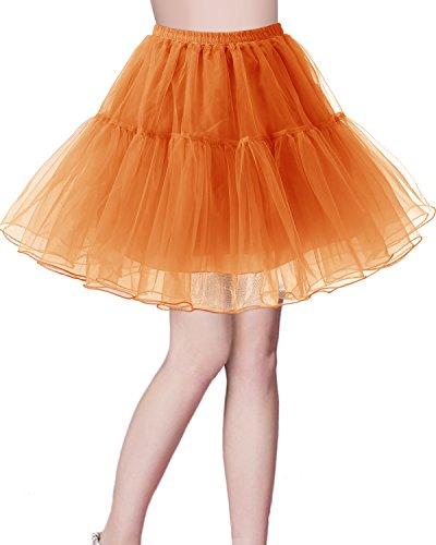 bridesmay Kurz Retro Petticoat Rock 1950er Vintage Tutu Ballett Unterkleid Orange L