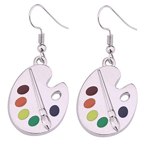 lemegeton pincel (diseño de moda y colorido pendientes de gota paleta de pintura artista pintor joyas