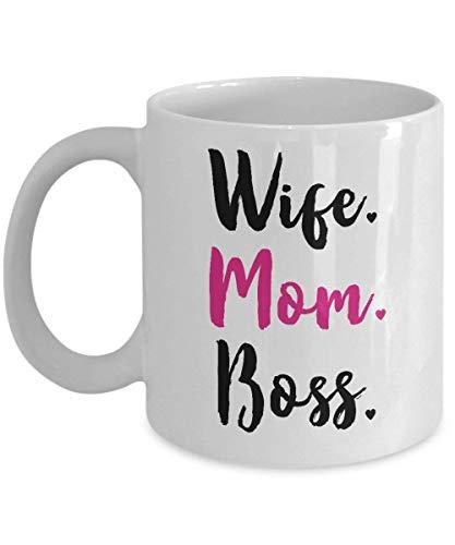 N\A Funny Mom Coffee Wife Mom Boss Mug 11 oz Taza de cerámica Regalos para el Día de la Madre