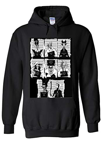 Disney Villains Mugshot Novelty Black Men Women Unisex Hooded Sweatshirt Hoodie-M