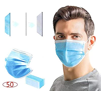 50 pcs Disposable Face Ma SKS Earloop Mouth Face Blue 3Layer Ma sk