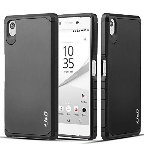 J&D Compatible para Sony Z5 Funda, [Armadura Delgada] [Doble Capa] [Protección Pesada] Híbrida Resistente Funda Protectora y Robusta para Sony Z5 - Negro