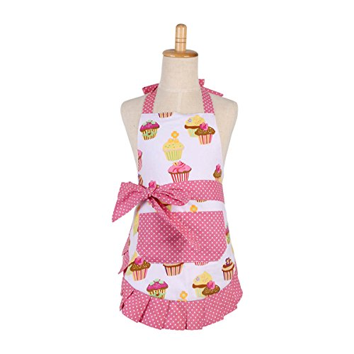 Cotton Aprons for 2-5 years Kid Girls, Cupcake Pattern Apron for Children, Great for Daughters Litter Girls(Kid Girl)