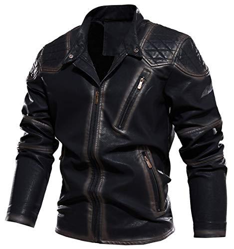 chouyatou Men's Vintage Contrast Fleece Lined Zip Front Distressed Pu Leather Quilted Biker Jacket (Black, XX-Large)
