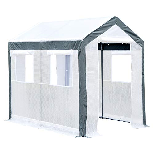 Outsunny Walk-in Garden Greenhouse Fully Enclosed with Extra Thick Steel Tubing, 4 Windows (Plus Screens), and 2 Zippered Doors for a Perfect Garden Haven, 6' L x 8' W x 7' H, White
