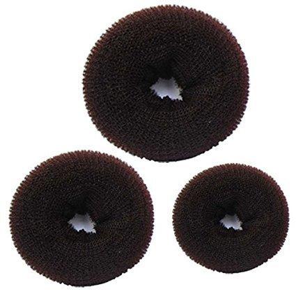 Aeromdale Hot Cheveux Donut Chignon Styler Maker Marron 1 Lot de 3 Pièces (1 x Petite, 1 x Medium, 1 x Large)