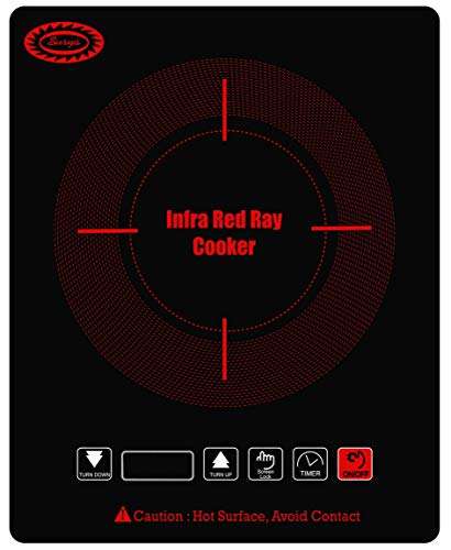 Surya Infra-Red Ray Induction Cooker Model Q3932 in Crystalline Glass Plate with Slim Body Top Plate of 39 x 32 cm