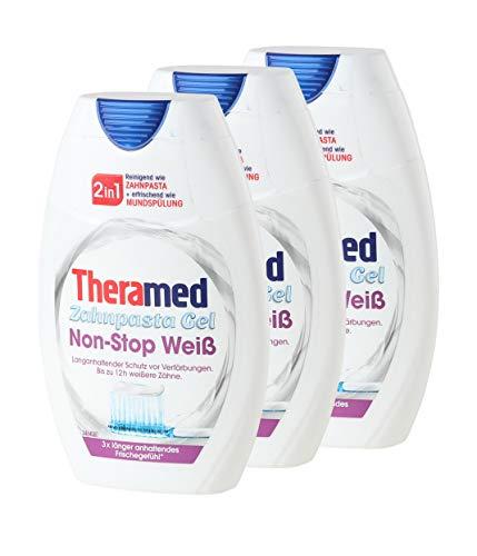 3 X Theramed non-Stop White protezione antibatterica 2 in1 dentifricio balsamo orale