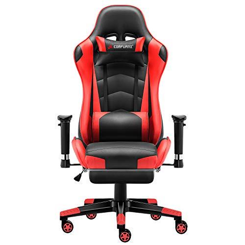 JL Comfurni Gaming Chair Computer Chairs Ergonomic Swivel Office PC Desk Chair Heavy Duty Reclining High Back with Lumbar Cushion (Black&Red)