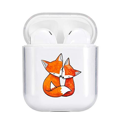 Idocolors Süßer Fuchs Hülle Kompatibel mit AirPods 1 und 2 Hülle Cover TPU Durchsichtig Weich (LED Sichtbar) - [Unterstützt kabelloses Laden] [Stoßfeste Schutzhülle]