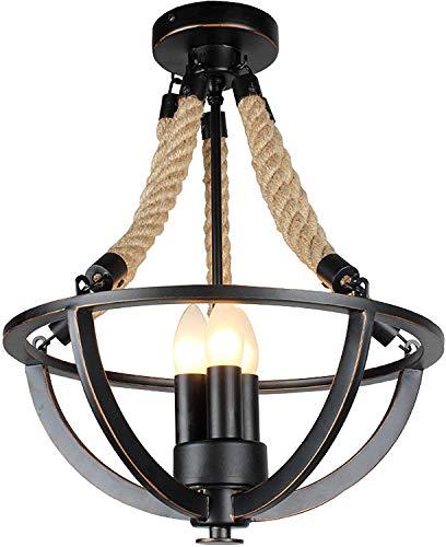 NZDY Lámpara colgante retro de metal negro estilo industrial E14 lámparas para sala de estar, dormitorio, bar