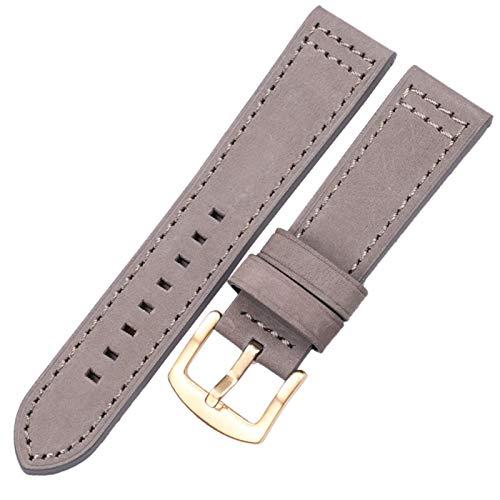 Cintas De Relojes De Cuero 18 20 22 24mm Mujeres Relojamiento Rápido Para Samsung Gear S3 Cuero Vintage Watch Band Correa 10688 (Band Color : Gray gold buckle, Band Width : 22mm)