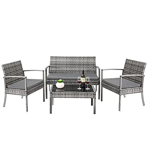 Rattan Garden Furniture Set, 4 Piece Rattan Garden Table and Chairs Outdoor Furniture Sets with Coffee Table for Backyard, Porch, Lawn, Poolside