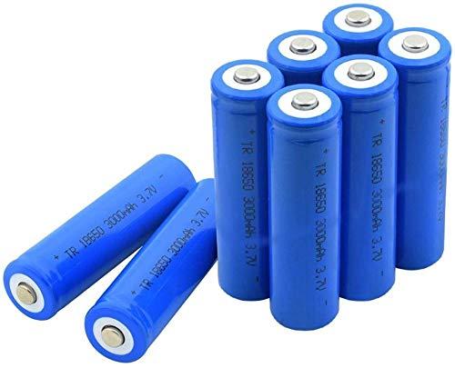 Célula de ión de Litio Recargable de la batería Puntiaguda de 3.7v 3000mah 18650 para la Linterna 8pcs