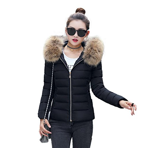 Damen Daunenjacke URSING Mode Einfarbig Beiläufig Dickere Winter Slim Fit Mantel mit Fell Kapuze Draussen Daunenmantel Wintermantel Steppjacke Outwear Übergangsjacke wollmantel (Schwarz, S)