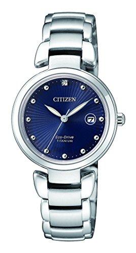 CITIZEN Damen Analog Solar Uhr mit Titan Armband EW2500-88L