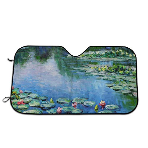 antfeagor Cropped Water Lilies Monet Windshield Sun Shade Cover Visor Protector Sunshades Covers Awning