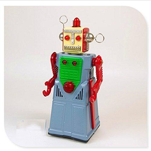 TR2053 Vintage pile Tin Toy Capo Robotman NIB replica Blu