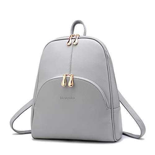 Nevenka Brand Women Bags Backpack PU Leather Zipper Bags Purse Casual Backpacks Shoulder Bags (GRAY)