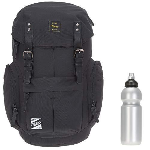 Rucksack Nitro Daypacker Alltagsrucksack Laptop Fach Schulrucksack Vintage + Flasche (True Black)