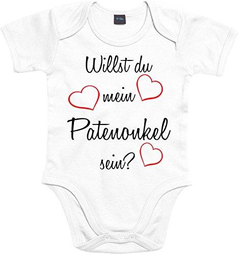 Mister Merchandise Baby Body Willst du mein Patenonkel sein? Strampler liebevoll bedruckt Pate Patenschaft Taufe Weiß, 0-3