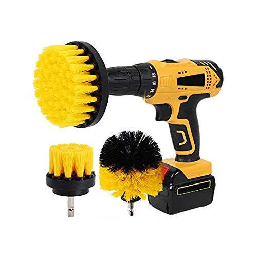 Kingbra Cepillo para taladro; – ;2 ;'3' 4; cepillo de limpieza de dureza media cepillo para limpieza de duchas, bañeras, azulejos de baño, alfombra, lechada, neumáticos de cocina