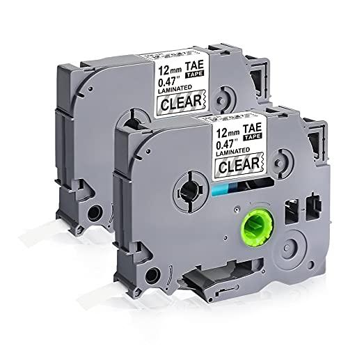 2 X compatibile con Brother PTouch TZE-131 TZ Clear Label Maker Tape Maker Tape 12 mm x 8 m per P-Touch H105 H100lb H100r H101 H101c PT-1010 PT-1080