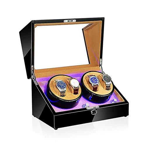 NuanXing Caja enrolladora de Reloj, luz LED, 5 Modos de rotación, Caja de presentación de Relojes mecánicos automáticos, Disponible en 5 Estilos