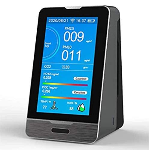 GYXZZ Luftqualität Messgerät Kohlendioxid CO2 Detektor 400-5000PPM HCHO TOVC PM2,5 PM1,0 PM10 Detektor Temperatur Luftfeuchtigkeit Anzeige Tuya App WiFi Handy-Verbindung mit Datenspeicherfunktion