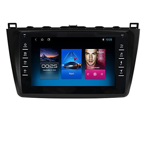 Android 10 Autoradio fit für Mazda 6 2007 2008 2009 2010 2011 2012 mit 8 Zoll Touchscreen 1+16 GB Unterstützung Bluetooth WiFi USB Lenkradsteuerung GPS Navigationsspiegel Link FM