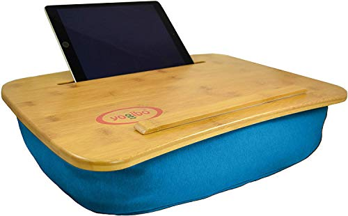 Yogibo Traybo 2.0 Lap Desk, Bamboo Top Lap Desk With Pillow for Laptop Built in Slot for Tablet or Phone, Lap Pad for Working, Reading, Writing, Lap Board, Turquoise
