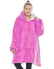 Vrouwen Fluffy Deken Hoodie Warm Cosy Comfy Pullover Oversized Pocket Hooded Deken