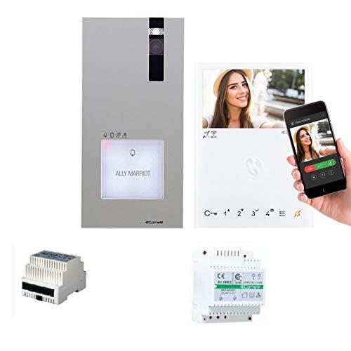 COMELIT - Kit de videoportero con sistema VIP, monitor QUADRA + mini manos libres Wi-Fi, acceso a distancia