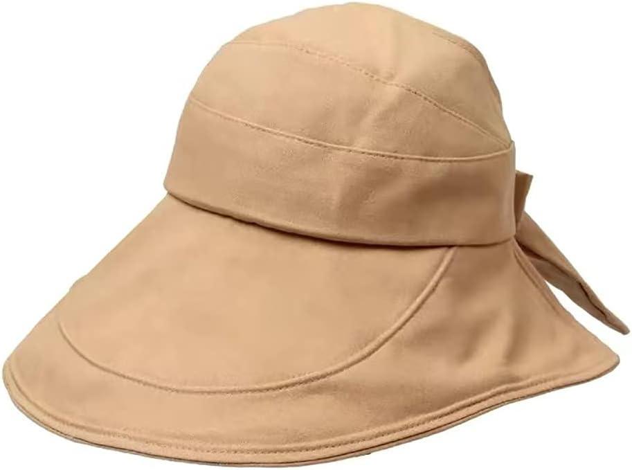 Summer Women Ponytail Visor Wide Brim UV Protection Bow Beach Hat Foldable Bowknot Travel Beach Casual Style Sun Hat(Khaki)