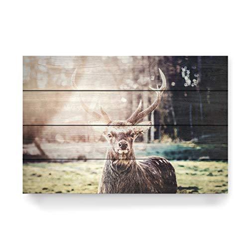 artboxONE Holzbild 60x40 cm Natur EIN Hirsch im Morgenlicht von Künstler Florian Kunde