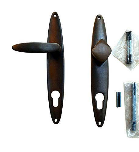 Graf von Gerlitzen Prunkgriffe Antik Messing Tür Haustüre PZ 92 Griffe Türgriffe Türbeschlag Türklinken Langschild Art Deco S36-4A