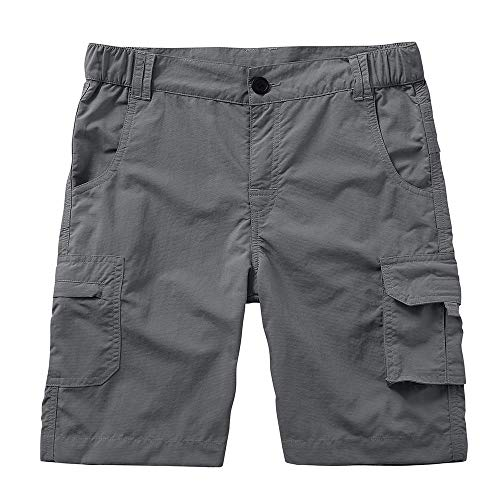Kids Boys Youth Cargo Shorts Casual Outdoor Cargo Bottoms, Hiking Camping UPF 50+ Quick Dry,Grey,L(12-14 Years)