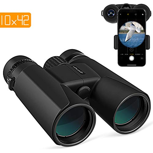 petit APEMAN 10X42 compact binoculars, powerful binoculars with smartphone adapter, BAK4 Prism FMC vision lens for low light, travel, bird watching, concerts, sports