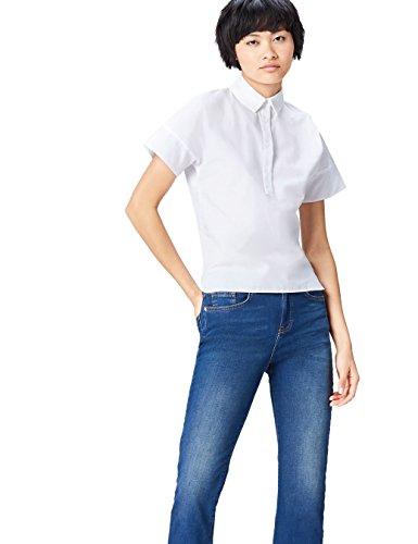 find. Step Hem Camisa para Mujer, Blanco (White), 38 (Talla del Fabricante: Small)
